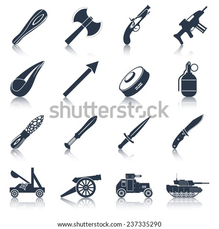 Weapon icons black set  with military war and police armament isolated vector illustration - stock vector
