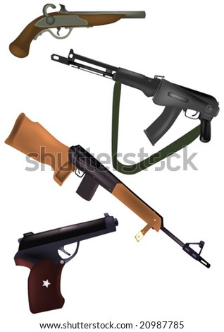 weapon, pistols and fire-arms - stock vector
