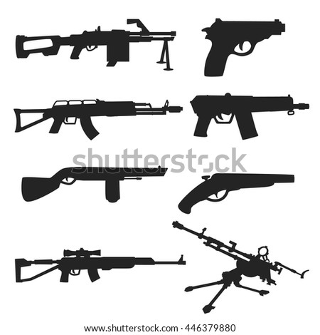 weapon silhouette . firearms of various forms isolated icons set