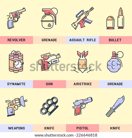 Weapons Icons. - stock vector