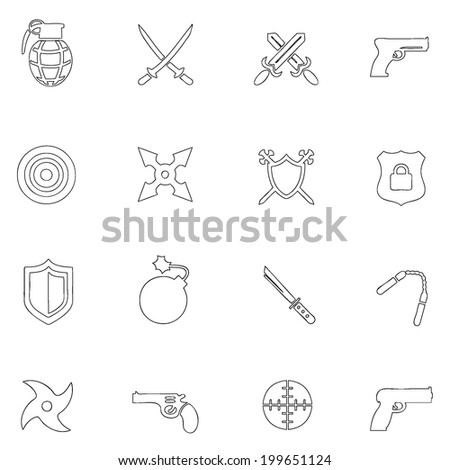 Weapons icons thin line drawing by hand Set 2 - stock vector