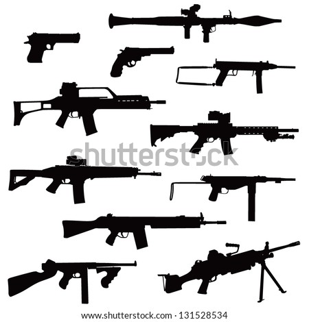 weapons in silhouettes - stock vector