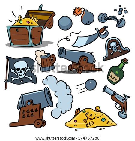weapons, rum and pirate treasure - stock vector