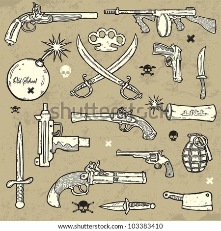 Weapons Set - stock vector