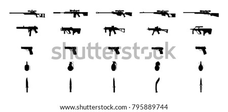 Weapons silhouettes set. Knifes, grenades, pistols, machineguns and sniper rifles. Vector EPS10.