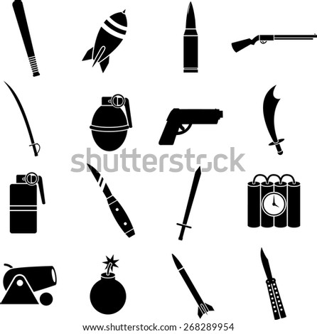 weapons symbols set - stock vector