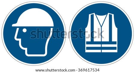 Wear head protection, Wear high-visibility clothing mandatory signs (eps 10) - stock vector