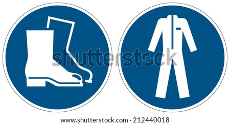 Wear safety footwear, Wear protective clothing mandatory signs (eps 10) - stock vector