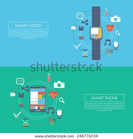 Wearable smart technology infographics template with smartwatch and smartphone. Applications icons for fitness trackers, social media, camera, health, etc. Eps10 vector illustration. - stock vector