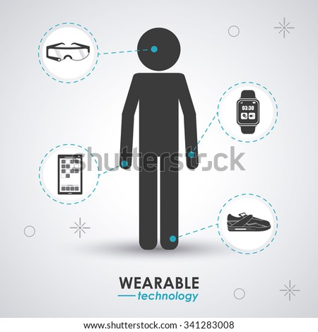 Wearable technology concept and multimedia icons design, vector illustration 10 eps graphic. - stock vector