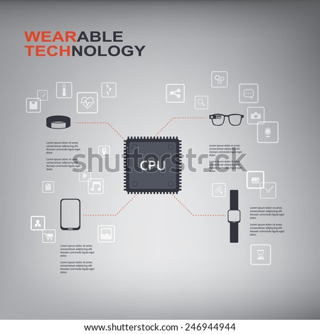 Wearable technology infographics with smart devices, icons and CPU chip. Eps10 vector illustration. - stock vector