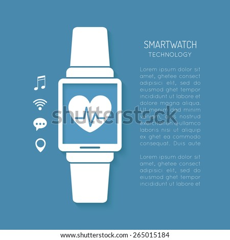 Wearable technology symbol with heartbeat tracker - stock vector