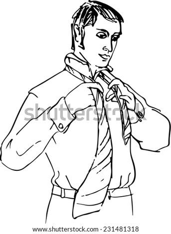 Wearing tie. - stock vector