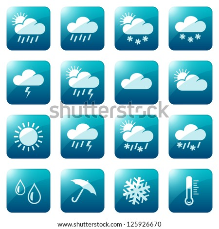 Weather and seasons icon set, eps10 vector