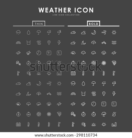 weather-bold-and-thin-line-icons - stock vector