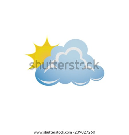 Weather - cloud with sun - stock vector