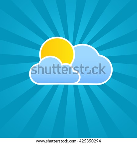 Weather clouds and sun with beams in the background vector illustration.