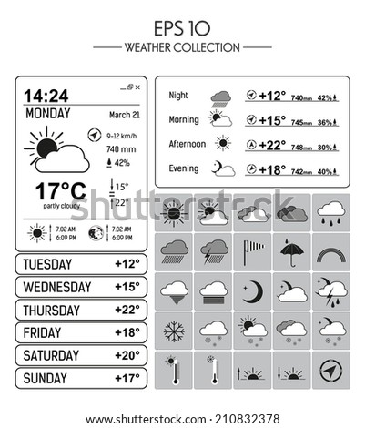 Weather Collection - stock vector