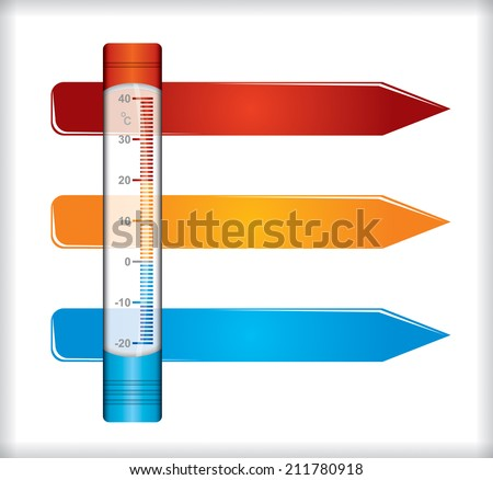 Weather concept, template with thermometer illustration - stock vector