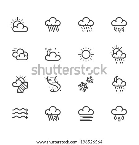 weather element vector black icon set on white background - stock vector