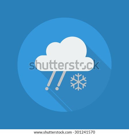 Weather Flat Icon With Long Shadow. Rainy With Snow - stock vector