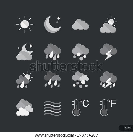 Weather flat style icons in gray color - Vector Illustration