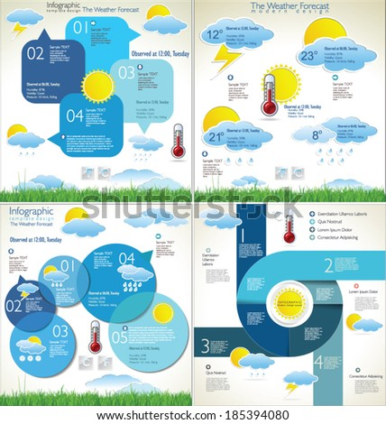 Weather forecast background collection - stock vector