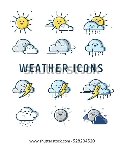 Weather forecast cute icons vector collection