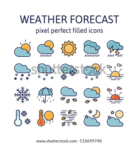 Weather Forecast Filled Outline Icons Pictogram Stock Vector