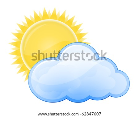 Weather forecast glossy icon - Cloudy - stock vector