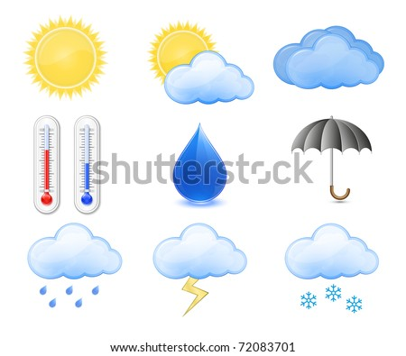 Weather Forecast Icons. Outdoor Thermometer, Sun, Cloud, Rain. Highly detailed vector illustration. - stock vector