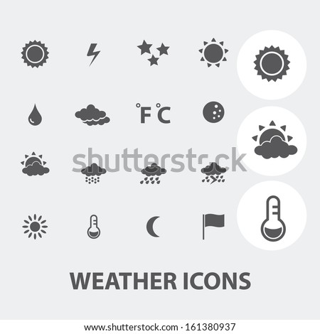 weather forecast icons set, vector