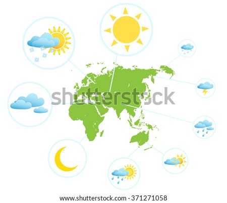 Weather forecast infographic set with meteorology signs and world map vector illustration - stock vector