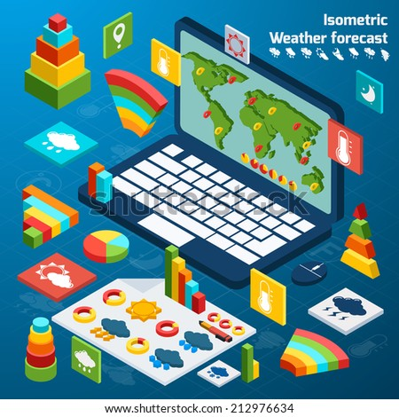 Weather forecast isometric icons buttons set with open laptop vector illustration - stock vector