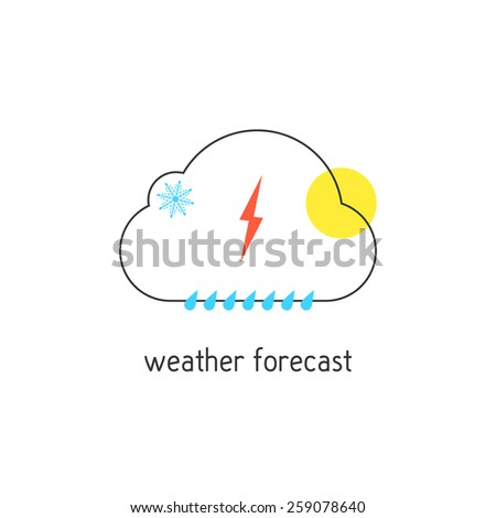 weather forecast logotype with outline cloud. concept of daily forecast, company brand, tv program, weather today. isolated on white background. flat style modern logo design vector illustration - stock vector