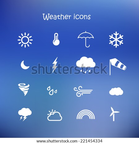Weather forecast, meteorology icon set in a blue background