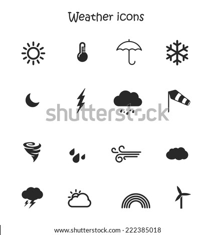 Weather forecast, meteorology icon set in a blue background vector - stock vector