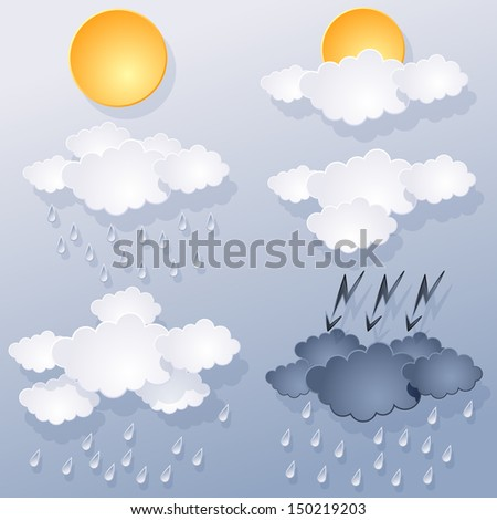 weather forecast, of clouds and sun on blue background