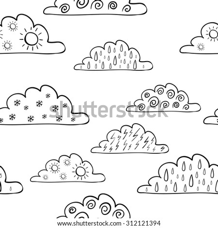 Weather forecast seamless pattern isolated on white background. Wind, rain, thunder, sun, snow. Vector hand drawn illustration - stock vector