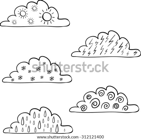 Weather forecast signs in clouds isolated on white background. Wind, rain, thunder, sun, snow. Vector hand drawn illustration - stock vector