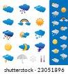 Weather forecast symbols - stock photo