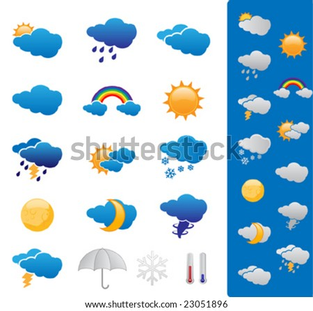 Weather forecast symbols - stock vector