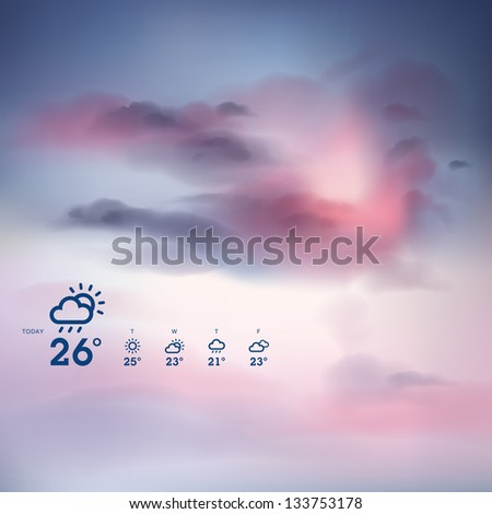 Weather forecast template and sunset theme background - stock vector