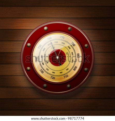 weather gauge on a wooden background - stock vector