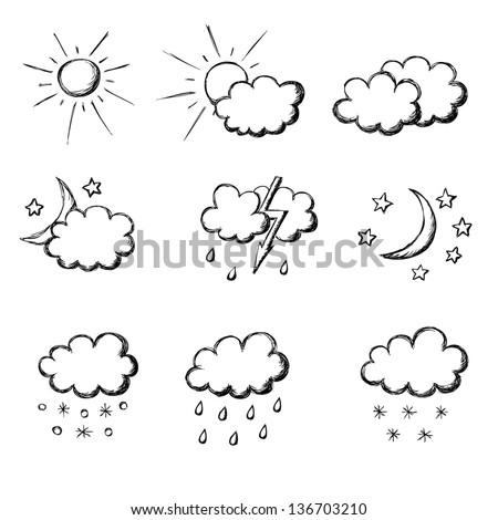 weather hand drawn icon set eps8 - stock vector