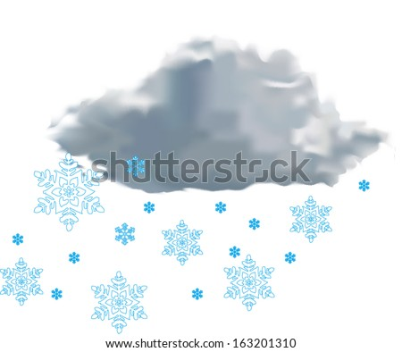 weather icon - cloud with snow on white background vector illustration - stock vector