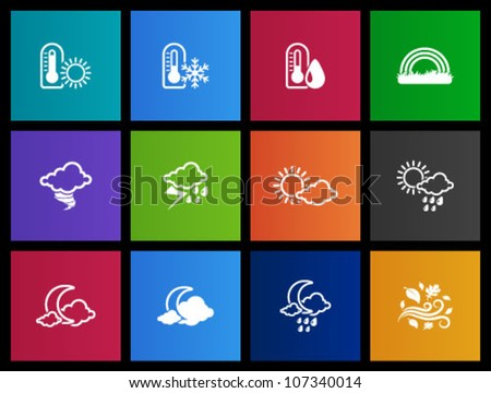 Weather icon series in Metro style - stock vector