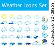 Weather icon set and Thermometers - stock vector