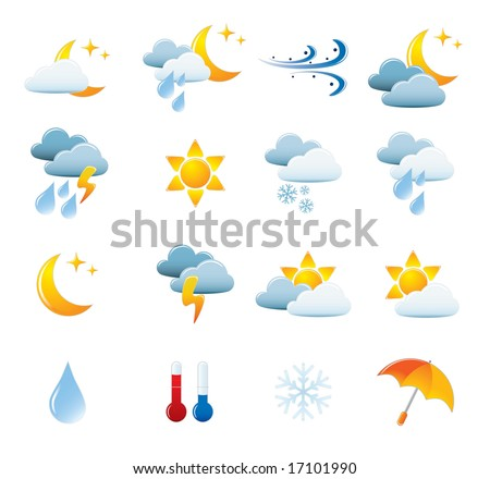 Weather Icon Set. Easy To Edit Vector Image. - stock vector