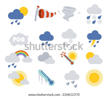 Weather icon set for weather forecasting apps or similar in modern flat colour style - stock vector